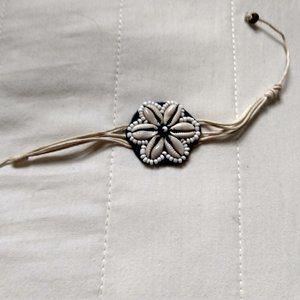 hemp rope cowrie bead shell flower tie bracelet